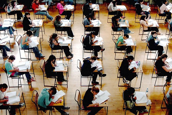 Teens sitting an exam