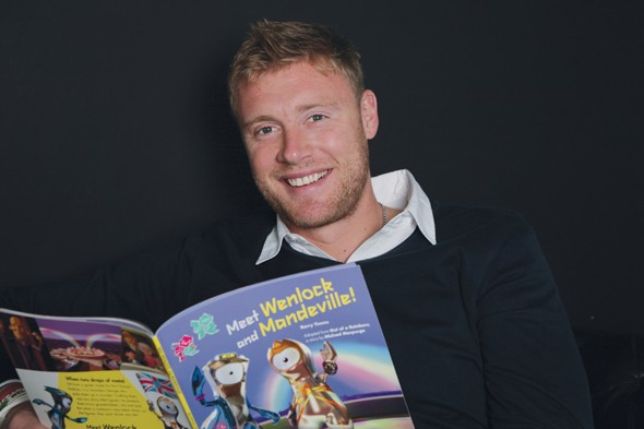 Cricketer Andrew Freddie Flintoff reading