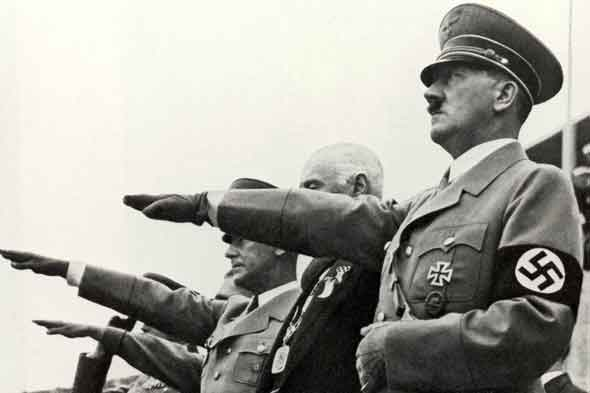 Hitler giving Nazi salute