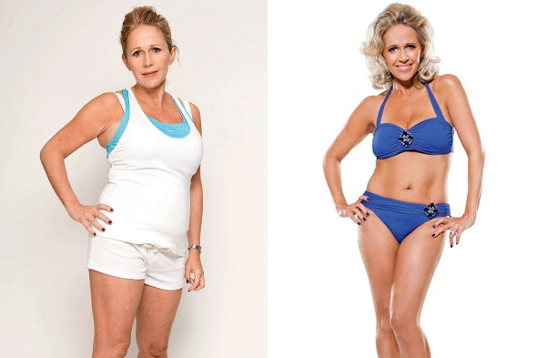 Lucy Benjamin before and after losing two stones of baby weight