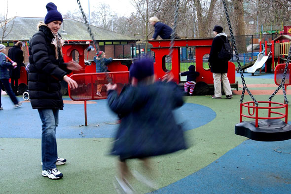 Children playing in park playground