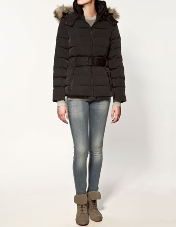 Zara Quilted Anorak with Fur Collar