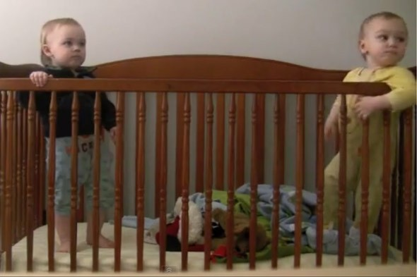 The great escape: Toddler escapes cot, with twin as look-out, then destroys the evidence