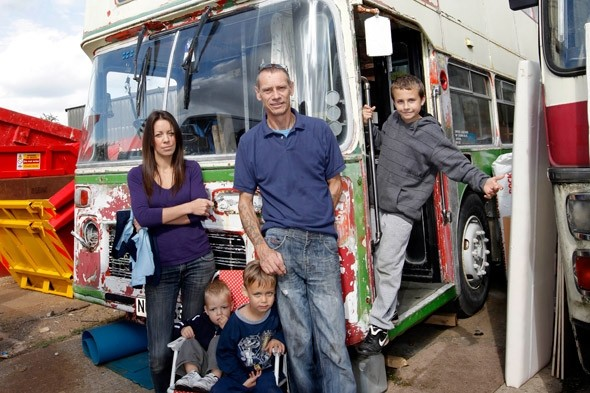 Cash-strapped family of five move into a £2,000 bus