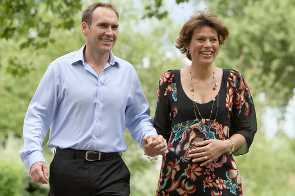 Pregnant Kate Silverton and husband Mike Heron