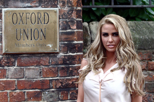 Katie Price tells Oxford Union sexy clothes for kids are wrong