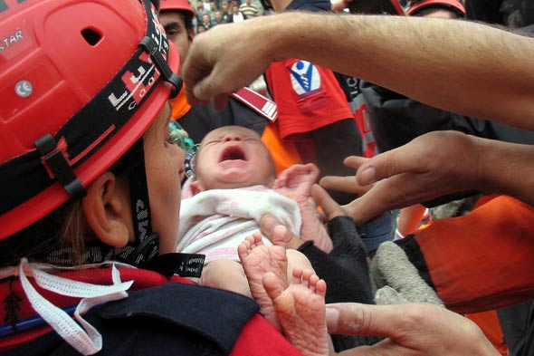 Newborn baby survives 46 hours in earthquake rubble