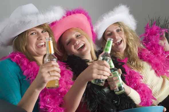 Teen girls drinking