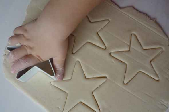 cutting salt dough into shapes