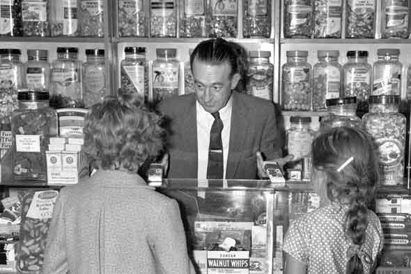 Spending pocket money in a sweet shop, nostalgic