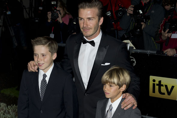 The Beckham boys scrub up for military night out