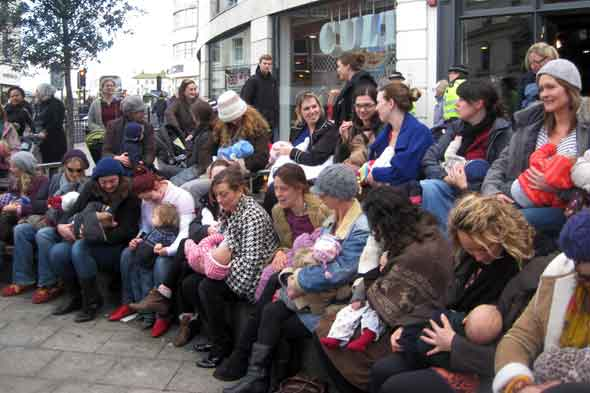 Breastfeeding flash mob demonstration in Brighton