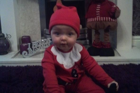 Baby Theo is Santa outfit