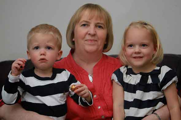 Twins Lexi and Rudridh with their grandmother Joyce, who also shares the same birthday