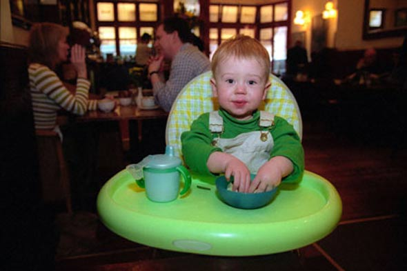 Restaurant charges a baby to sit down