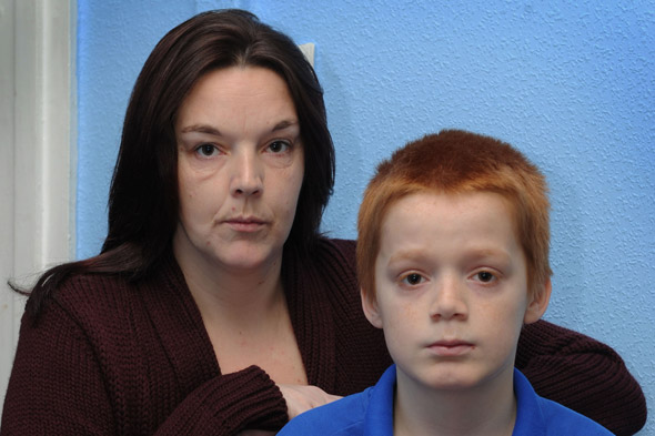 Emma Walsh and her son Tyler who has been bullied because of his ginger hair