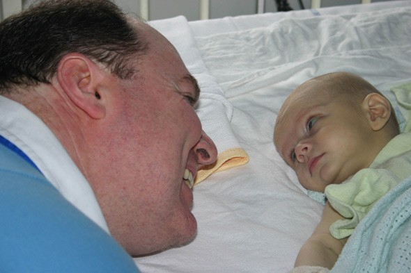 David O'Shaugnessy and son Daniel after his life-saving transplant