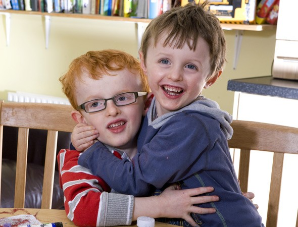 Twin Finn recovers from brain damage by copying his brother