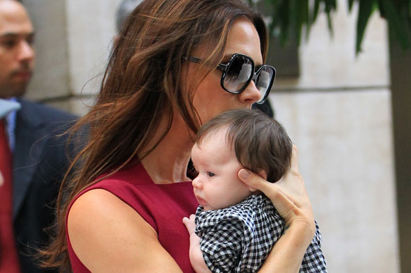 Victoria Beckham and daughter Harper at New York fashion week
