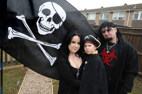 Seven-year-old cannot fly pirate flag