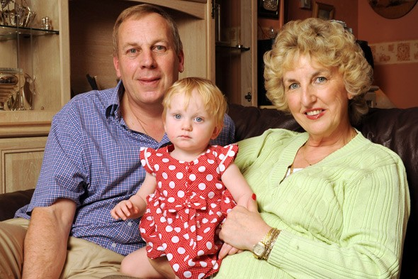 Britain's oldest mum Sue Tollefsen, her 13-m-onth-old daughter Freya and ex partner Nick Mayer