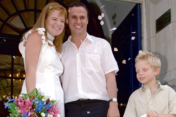 Patsy Palmer and husband Richard Merkell on their wedding day 2000 with her son Charley