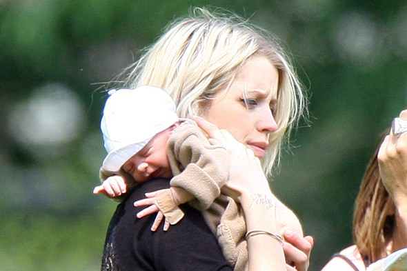 Peaches Geldof takes teeny tiny baby Astala to the park