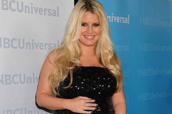 About time too: Jessica Simpson is finally in labour