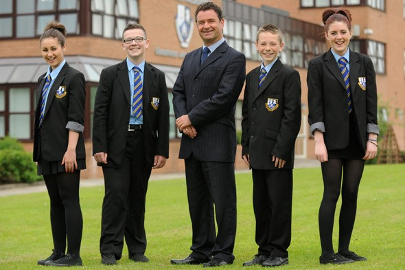 Pupils and head teacher Vincent Docherty at John Paul Academy, Glasgow