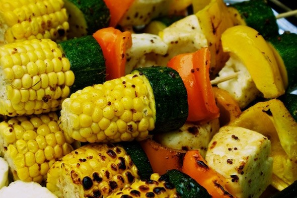 Summer barbecue recipe: Glazed halloumi and vegetable kebabs