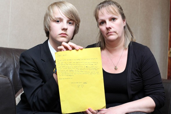 School apologises as pupil writes 'suicide' note for homework