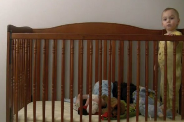 Toddler escapes cot as twin acts as his look-out