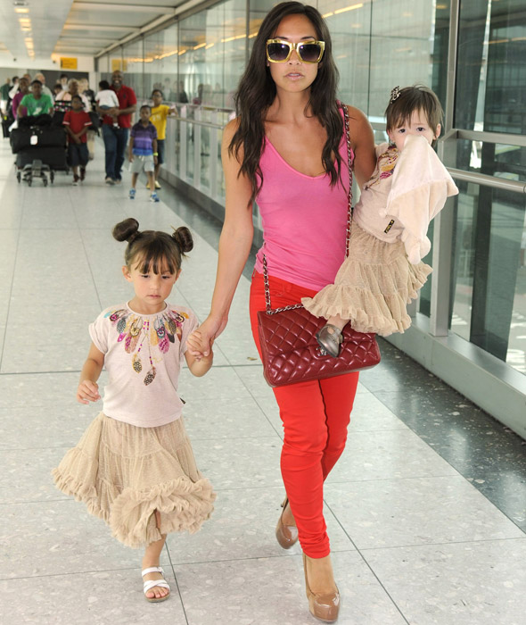 Myleene Klass looks impossibly glam after long haul flight with two small children