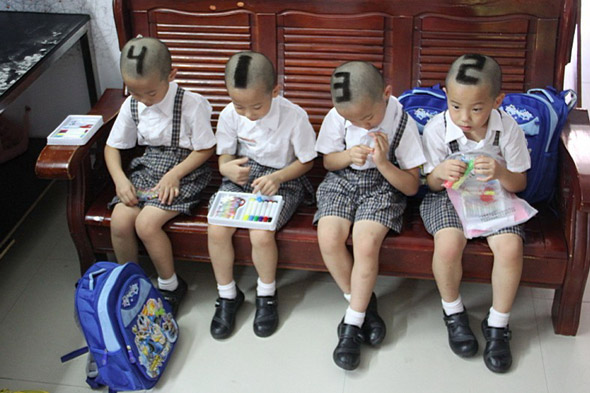 Mum has numbers shaved into hair of quadruplet sons to help teachers tell them apart!