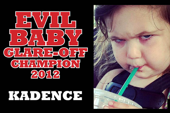 Toddler crowned Evil Baby Glare-Off champion 2012