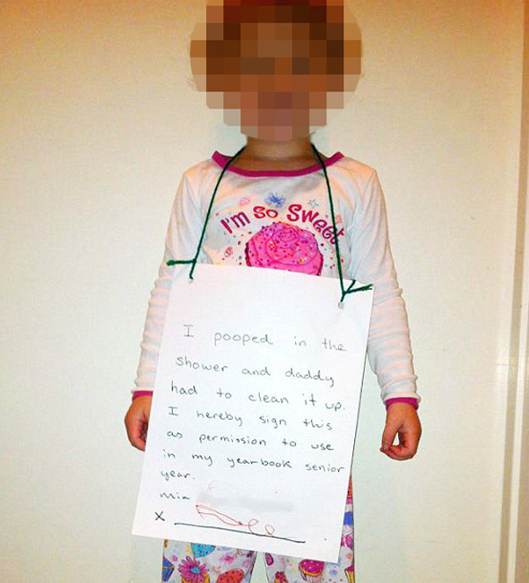 Dad humiliates three-year-old with 'I pooped in shower' internet pic