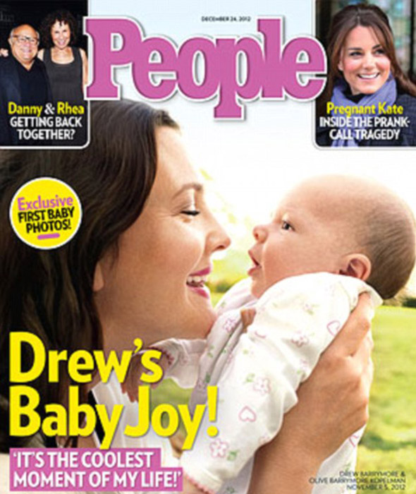 First pic! Drew Barrymore shows off baby Olive