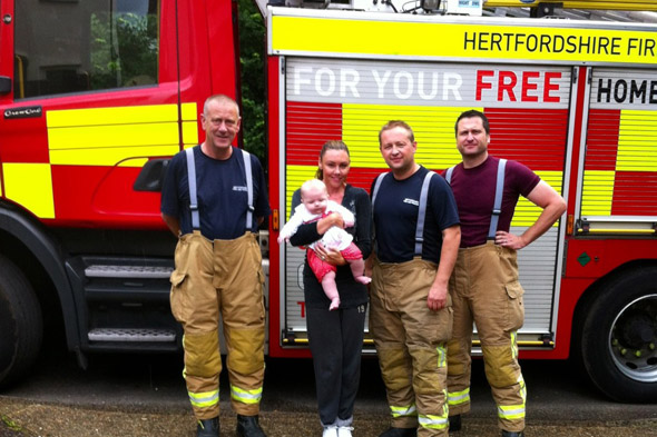 Michelle Heaton locks baby Faith in her car...and firemen come to her rescue!