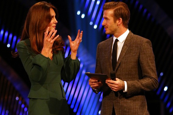 Pregnant Duchess of Cambridge and David Beckham