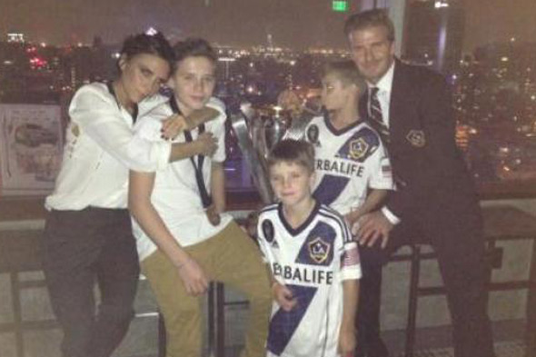 Victoria and David Beckham and sons Brooklyn, Romeo and Cruz after last LA Galaxy match