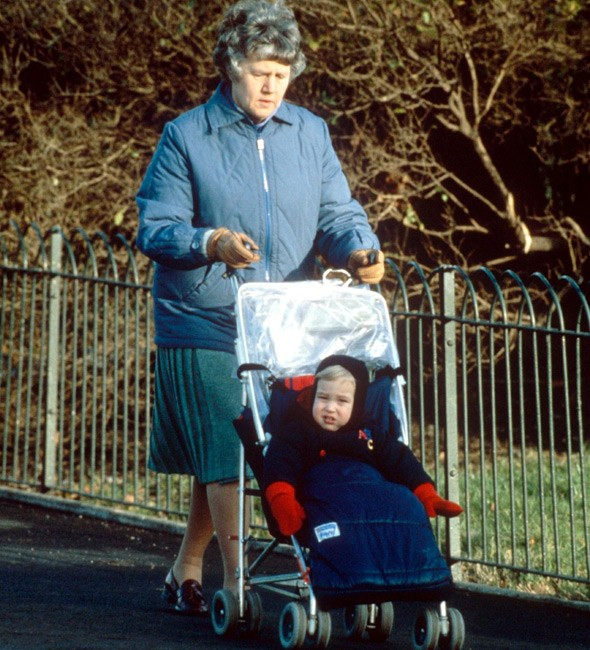 Prince William with nanny Olga Powell in Regents Park in 1984