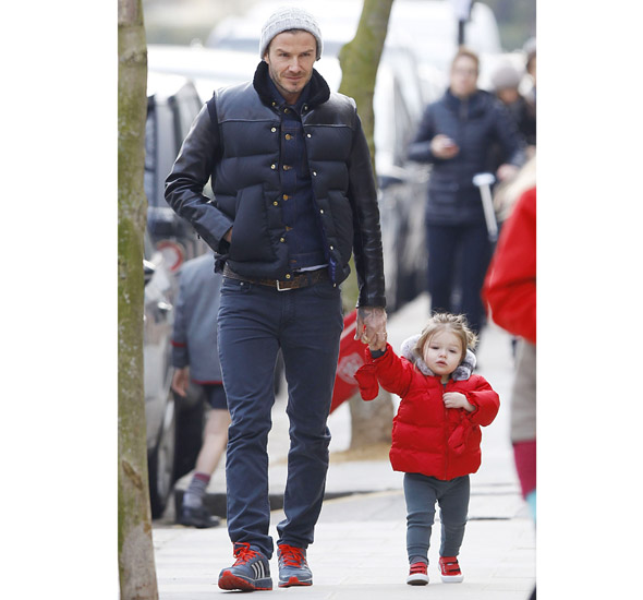 Harper and David Beckham step out in matching jackets