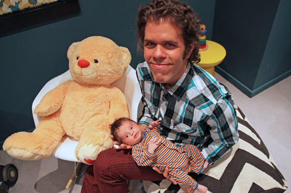 Celeb blogger Perez Hilton introduces new baby son
