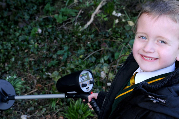 Little treasure hunter finds a BOMB in his granddad's back garden!