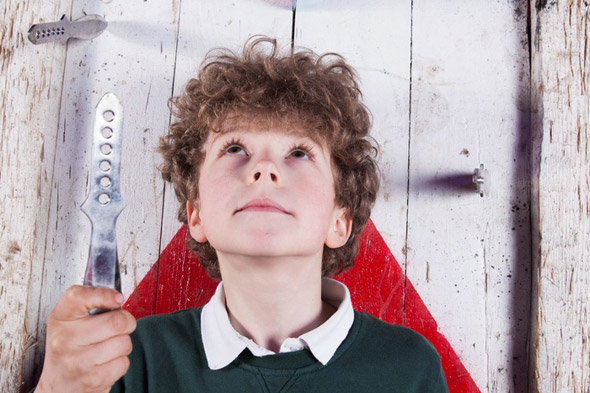 Boy, 10, throws knives at his mum - with her blessing!