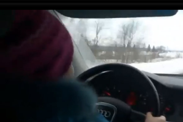 Dad forced 8-year-old daughter to drive at 60 mph on icy road