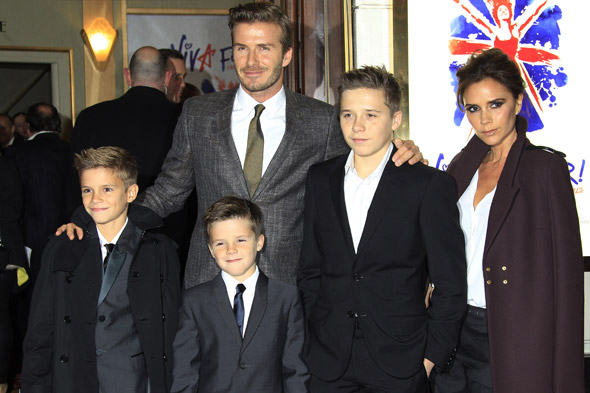 David's gang: The Beckham clan have the look of dad