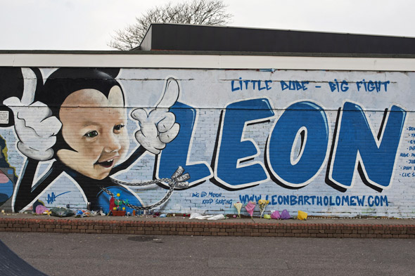 Brave cancer victim Leon is immortalised as a 30-foot cartoon