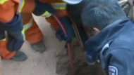 Terrified girl, 4, hauled from bottom of seven metre-deep hole