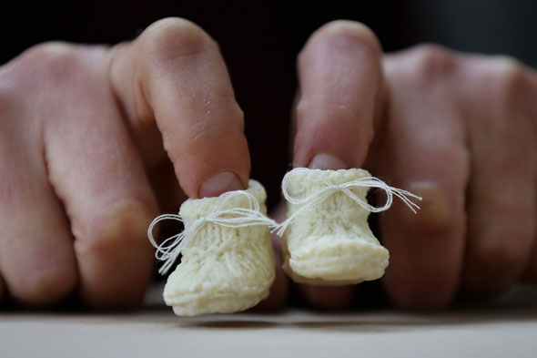 Designers create pair of baby booties made from breast milk!